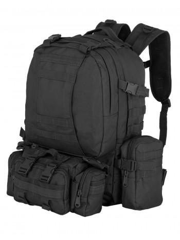 Рюкзак Тактический FORTRESS с напояс. сумкой и 2 подсум, 40 л, арт 016, цвет Черный (Black)