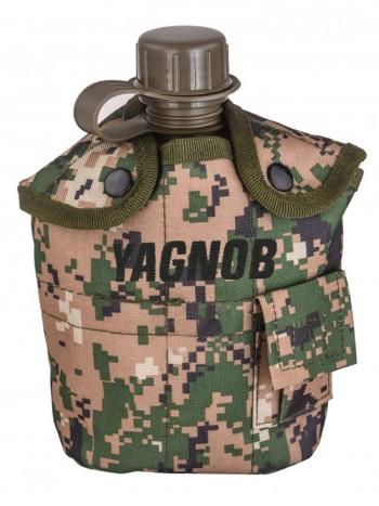Армейская фляга (фляжка) пластиковая 1 литр,  в камуфлированном чехле с алюминиевым котелком, цвет Марпат (Marpat)