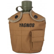 Армейская фляга (фляжка) пластиковая 1 литр,  в камуфлированном чехле с алюминиевым котелком, цвет Койот (Coyote)
