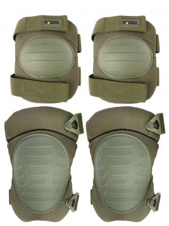 Комплект: Налокотники и Наколенники Gongtex Tactical Protection, арт GK08K, цвет Олива (Olive)