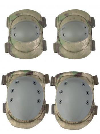 Комплект: Налокотники и Наколенники Gongtex Tactical Protection, арт GK04K, цвет Атакс, Мох (A-TACS FG)