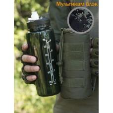 Тактическая фляга GONGTEX с чехлом и креплением на систему Молле цвет Мультикам блек (Multicam Black)