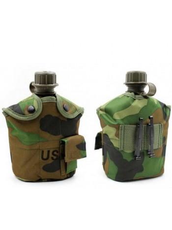 Армейская фляга пластиковая 1 литр,  в камуфлированном чехле с алюминиевым котелком, цвет камуфляж РФ лес