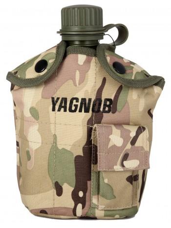 Армейская фляга пластиковая 1 литр,  в камуфлированном чехле, цвет Мультикам (Multicam)