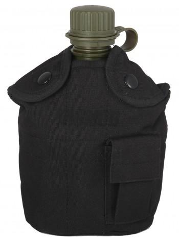 Армейская фляга пластиковая 1 литр,  в камуфлированном чехле, цвет Черный (Black)