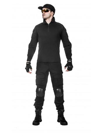 Костюм тактический мужской -  летний TACTICA 7.62 со съемной защитой локтей и коленей, цвет Черный