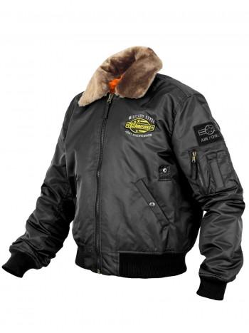 Куртка Пилот мужская (бомбер), осень-зима, 762 Armyfans G060A, цвет Черный (Black)