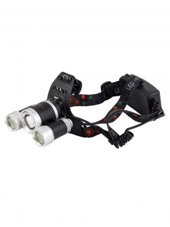 Мощный, налобный, светодиодный, аккумуляторный фонарь, арт. HL-6838 (4 режима, полный комплект)
