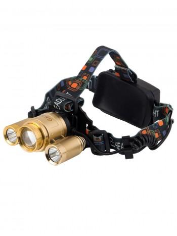 Мощный, налобный, светодиодный, аккумуляторный фонарь, арт. 6839