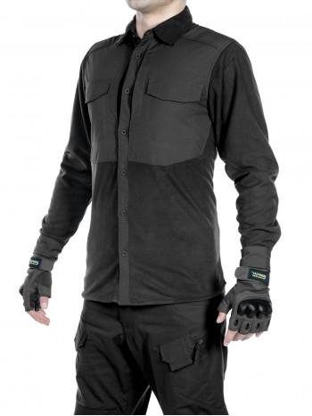 Рубашка флисовая мужская утепленная GONGTEX Superfine Fleece Shirt, цвет Черный (Black)