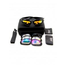 Тактические очки со сменными насадками DAISY 4в1, кофр, цвет Черный (Black)