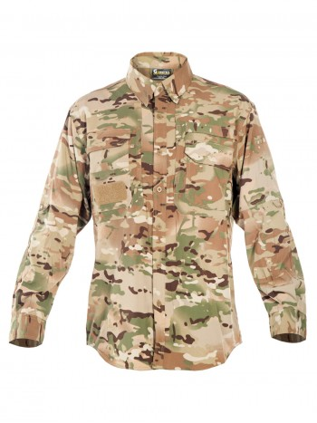 Легкая тактическая мужская рубашка GONGTEX TRAVELLER SHIRT, полиэстер-эластан, цвет Мультикам