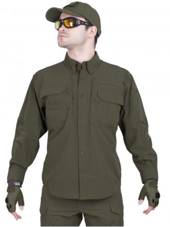 Легкая тактическая мужская рубашка GONGTEX TRAVELLER SHIRT, полиэстер-эластан, цвет Олива (Olive)