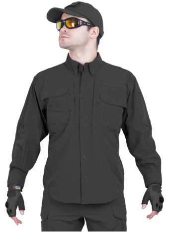Легкая тактическая мужская рубашка GONGTEX TRAVELLER SHIRT, полиэтер-эластан, цвет Черный (Black)