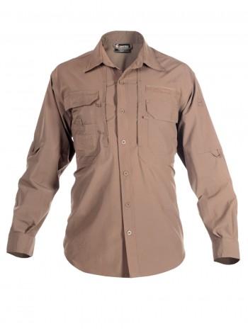 Легкая тактическая мужская рубашка GONGTEX TRAVELLER SHIRT, полиэстер-эластан, цвет Койот (Coyote)