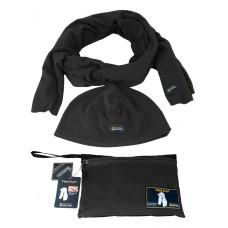Комплект тактический Флисовый Шарф + Шапка + Сумка для переноски и хранения, GONGTEX, цвет Черный (Black)
