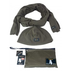 Комплект тактический Флисовый Шарф + Шапка + Сумка для переноски и хранения, GONGTEX, цвет Олива (Olive)