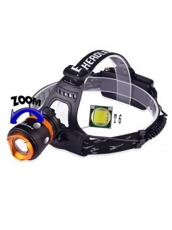 Мощный, налобный, светодиодный, аккумуляторный фонарь, арт. 018