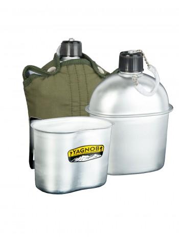 Комплект: походная фляга 2в1 (фляжка) алюминиевая 1 литр + походный котелок + мягкий чехол Yagnob Military Flask 1l, цвет Олива