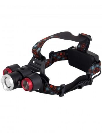 Мощный  налобный светодиодный аккумуляторный фонарь HL-1809 (3 источника + полный комплект)