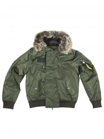 Куртка Пилот (бомбер) мужская с капюшоном, осень-зима 726 Armyfans арт 101, цвет Олива (Olive)