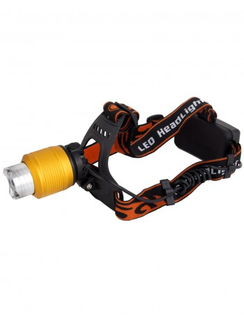 Мощный  налобный светодиодный аккумуляторный фонарь HL-033-1 (желтый свет + полный комплект)