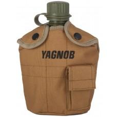 Армейская фляга пластиковая 1 литр,  в камуфлированном чехле, цвет Койот (Coyote)