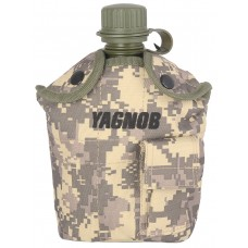 Армейская фляга пластиковая 1 литр,  в камуфлированном чехле, цвет Цифровой серый (ACUPAT)