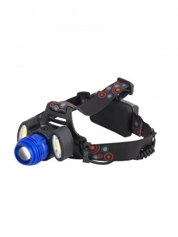 Мощный налобный светодиодный аккумуляторный фонарь HL-1808 (3 источника + полный комплект)