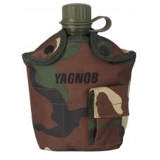 Армейская фляга пластиковая 1 литр,  в камуфлированном чехле, цвет Вудланд  (Woodland)