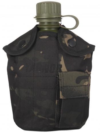Армейская фляга пластиковая 1 литр,  в камуфлированном чехле, цвет Мультикам Блэк (Multicam Black)