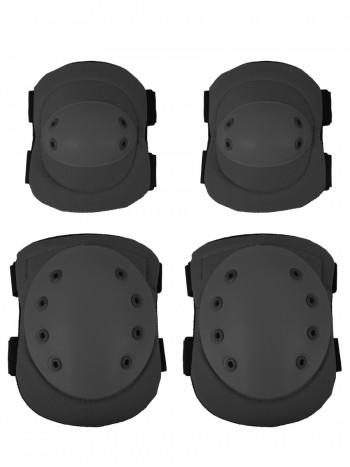 Комплект: Налокотники и Наколенники Tactical Protection, арт Y04, цвет Черный (Black)