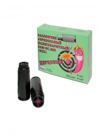 Баллончик (патрон) аэрозольный малогабаритный БАМ.ОС-000 (перцовый 18х51) (4 шт в упаковке)
