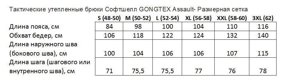 размерная сетка Брюки тактические мужские Софтшелл Gongtex Assault Softshell Pants, осень-зима, цвет Атакс, Мох (A-TACS)